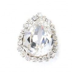 Pietra con castone Goccia cm 1,8X2,5 Crystal-Silver