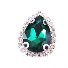 Pietra con castone  Goccia cm 1,8X2,5 Emerald-Silver