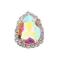 Drop stone setting 1,8X2,5 cm Crystal AB-Silver