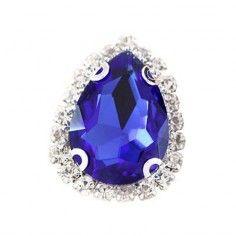 Drop stone setting 1,8X2,5 cm Sapphire-Silver