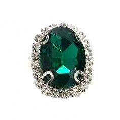 Pietra con castone Ovale cm 1,8X2,3 Emerald-Silver