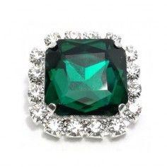Pietra con castone Quadrata cm 1,8X1,8 Emerald-Silver