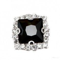 Pietra con castone  Quadrata cm 1,8X1,8 Jet-Silver