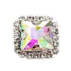Pietra con castone Quadrata cm 1,8X1,8 Crystal Aurora Boreale-Silver