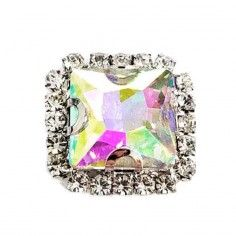 Square Stone setting 1,8X1,8 cm Crystal Aurora Borealis-Silver