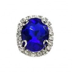 Oval Stone setting 1,8X2,3 cm Sapphire-Silver