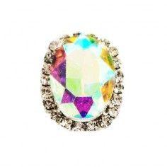 Pietra con castone Ovale cm 1,8X2,3 Crystal Aurora Boreale-Silver