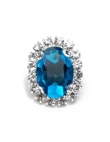 Oval Stone setting 1.9x2.3 cm Blu Zircon-Silver