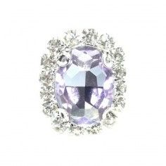 Pietra con castone Ovale cm 1,9x2,3 Violet-Silver