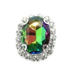 Pietra con castone Ovale cm 1,9x2,3 Rainbow-Silver