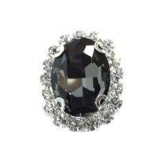 Oval Stone 1.9x2.3 cm Black...