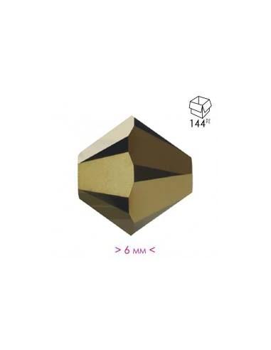 Jet Gold Bronze Crystal Bicone - 144 pcs