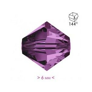 Bicone Amethyst 6 mm - Pack...