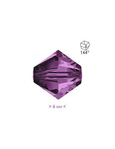 Bicone Amethyst 6 mm - Pack 144 pcs