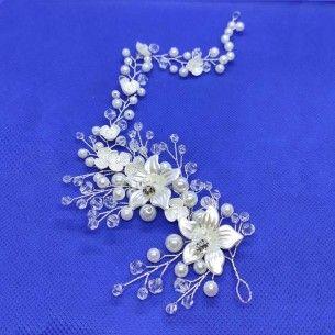 Acconciatura da SposaStrass Perle Biconi su filo in metallo Silver