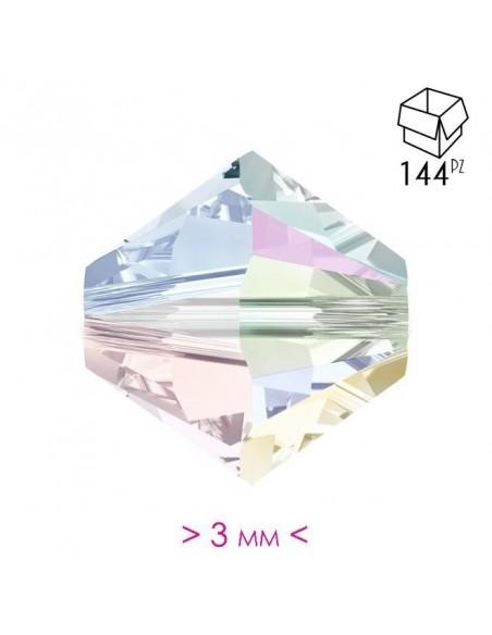Bicone Crystal AB 3mm - 144Pcs
