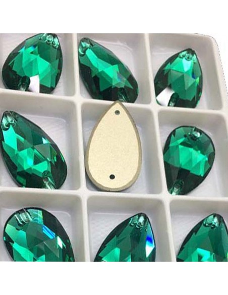 Pack Stone sew on Drop mm 28x17 Emerald
