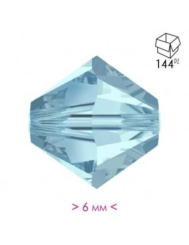 Bicono in Cristallo mm 6 Aqua - 144PZ