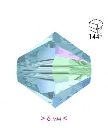 Bicono in Cristallo mm 6 Aqua AB - 144PZ
