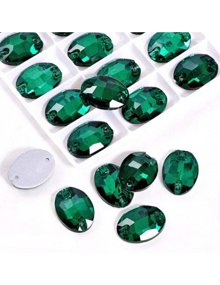 Pack Stone sew on Oval mm 24x17 Emerald