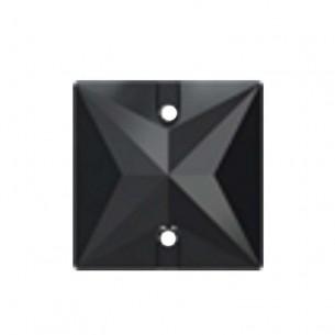 Pietra da cucire Quadrato mm 16 Jet Hematite