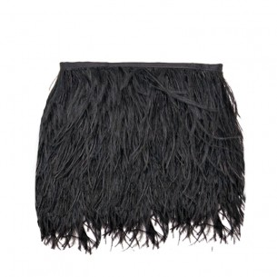 Fringe Sewing Black Ostrich Feathers