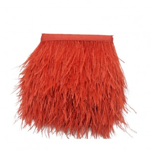 Fringe Sewing Red Ostrich Feathers