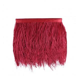 Frangia da cucire Piume di Struzzo Rosso Scuro