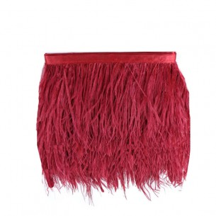 Fringe Sewing Dark Red Ostrich Feathers