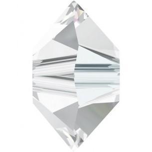 Bicono rondellina basso a forma di rombo in cristallo da 3x5 mm, colore: crystal.