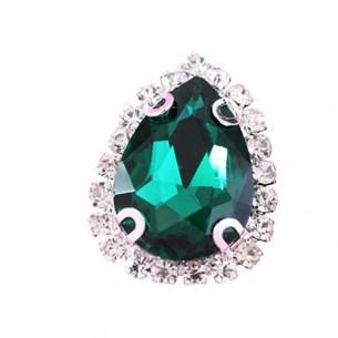 Pietra con castone Goccia cm 2,5X3,5 Emerald-Silver