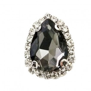 Drop Stone setting cm 2,5X3,5 Black Diamond-Silver