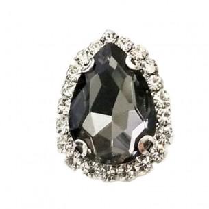 Pietra con castone Goccia cm 2,5X3,5 Black Diamond-Silver