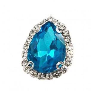Drop Stone setting cm 2,5X3,5 Aqua-Silver