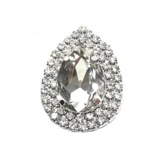 Drop setting stone 4.6x3.4 cm Crystal -Silver