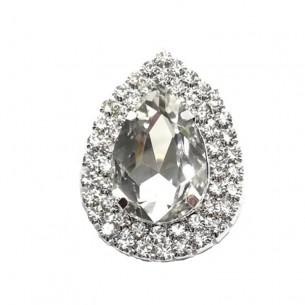 Pietra con castone Goccia cm 4,6X3,4 Crystal-Silver
