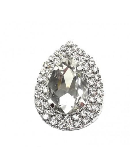 Drop setting stone 4.6x3.4 cm Crystal -Silver