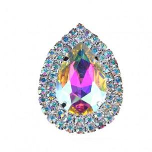 Drop stone setting  4.6x3.4 cm Crystal AB-Silver