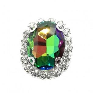 Pietra con castone Ovale cm 2,5x3,5 Rainbow-Silver