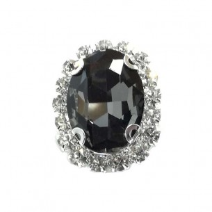 Oval Stone setting cm 2,5x3,5 Black Diamond-Silver