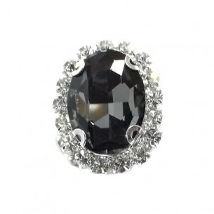 Pietra con castone Ovale cm 2,5x3,5 Black Diamond-Silver