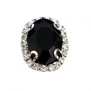 Oval Stone setting cm 2,5x3,5 Black-Silver