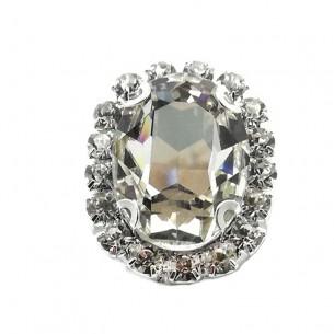 Oval Stone setting 1,8X2,3 cm Crystal -Silver