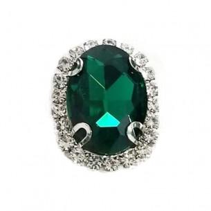 Pietra con castone Ovale cm 2,5x3,5 Emerald-Silver