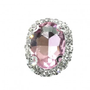 Oval stone setting  cm 2,5x3,5 Light Rose-Silver
