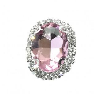 Pietra con castone Ovale cm 2,5x3,5 Light Rose-Silver