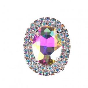 Oval Stone  setting 3,5x4,5 cm Crystal Ab-Silver