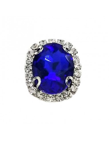 Oval Stone 1.9x2.3 cm Sapphire-Silver...