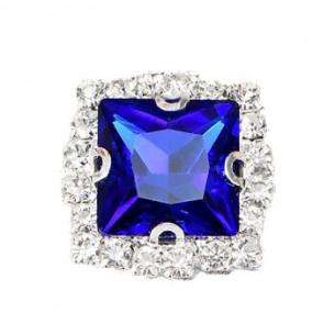 Square Stone setting 2.2x2.2 cm Sapphire-Silver
