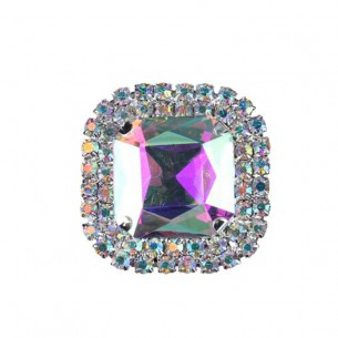 Pietra con castone Quadrata cm 3,8X3,8 Crystal Aurora Boreale-Silver